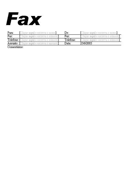 Folha de rosto do fax padrão