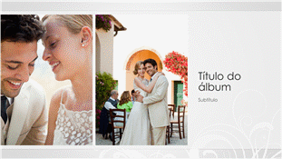 Álbum de fotografias de casamento, estrutura barroca prateada