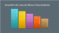 Diapositivo de SmartArt com Lista de Blocos Descendente (várias cores sobre cinzento), ecrã panorâmico