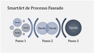 SmartArt de Processo Faseado (azul claro/escuro), ecrã panorâmico