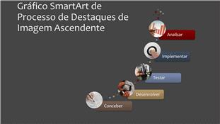 SmartArt de Processo Ascendente de Destaques de Imagem (colorido sobre cinzento), ecrã panorâmico