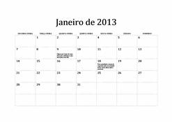 Calendário Clássico de 2013 (S-D)