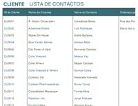 Lista de contactos de clientes