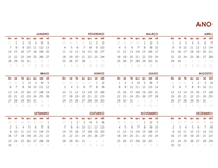 Calendário global anual completo