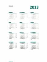 Calendário de visão geral 2013 (formato Seg.-Dom.)