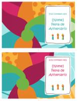 Cartões de convite para festa de aniversário (2 por página, design claro)