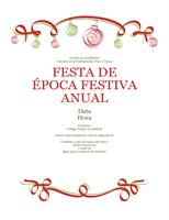 Convite para festa com adornos a vermelho e verde (design formal)