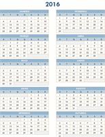 Calendário anual de 2016-2025