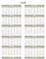 Calendário anual 2016-2025 (segunda a domingo)