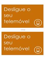 Cartaz de lembrete para desligar o telemóvel (laranja)