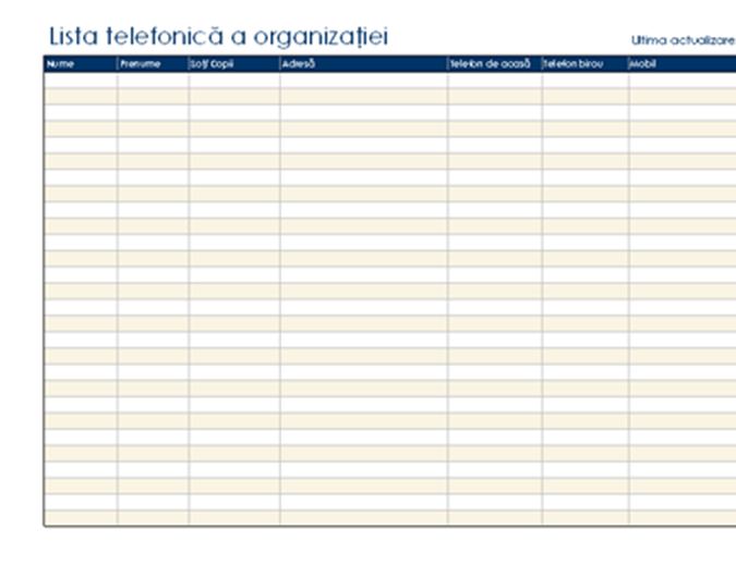 Listă telefonică a organizației