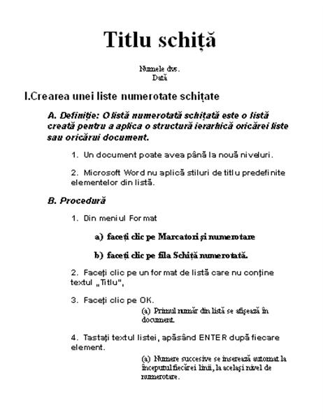 Schiță pe cinci niveluri cu instrucțiuni
