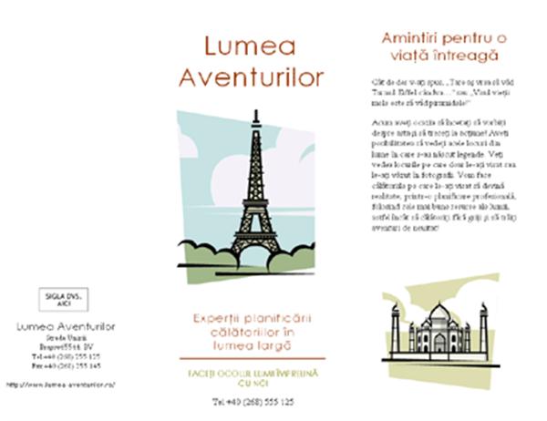 Broșură turistică (8 1/2 x 14, tip peisaj, 4 pag.)