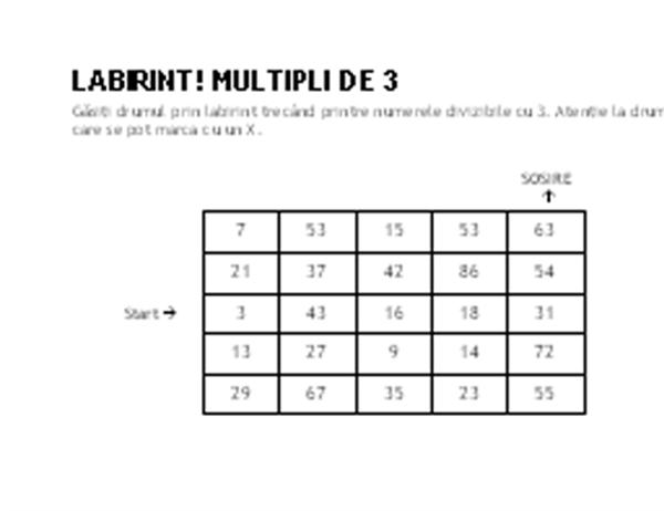 Labirint cu numere - nivel 1, multipli de 3