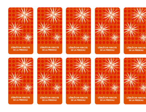 Etichete pentru cadouri de sărbători (model modern cu fulgi de nea, funcţionează cu Avery 5871, 8871, 8873, 8876 şi 8879)