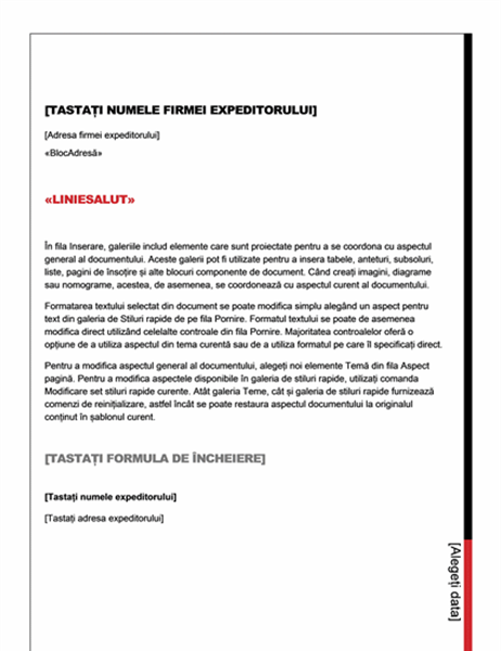 Scrisoare pentru îmbinarea corespondenței (model Esențial)