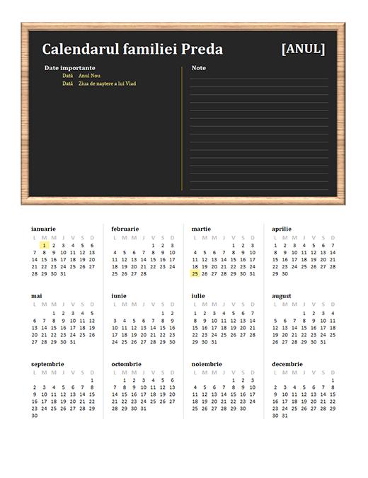 Calendar de familie (orice an, l-d)