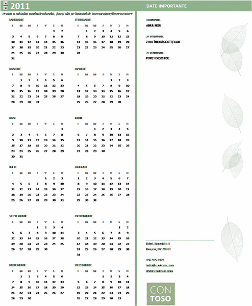 Calendar pentru întreprinderi mici (orice an, luni-duminică)