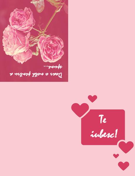 Felicitare romantică (pliată în patru)
