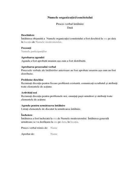 Proces verbal pentru întâlniri de organizație (formular lung)