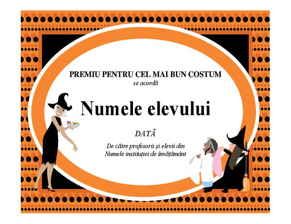 Premiul pentru cel mai bun costum de Halloween