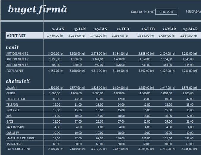 Buget pentru 18 perioade