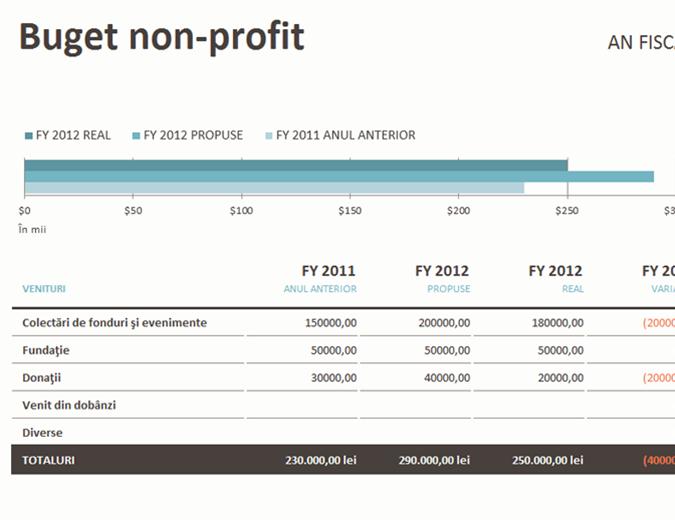 Buget non-profit pentru strângere de fonduri