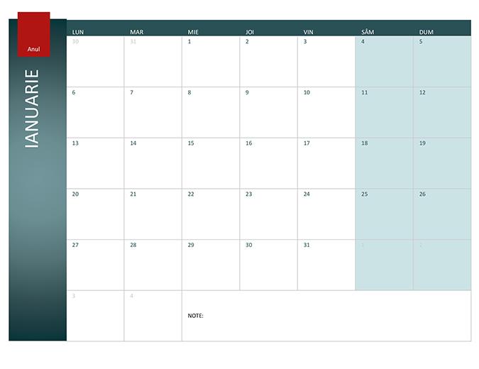 Calendar pentru orice an (tema Ion)