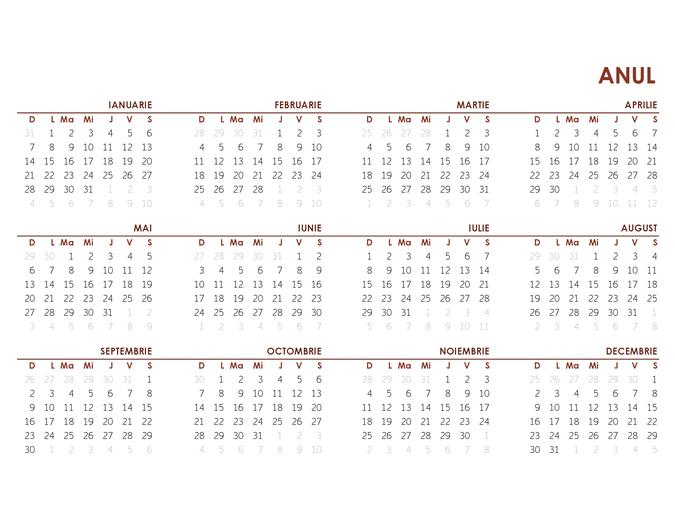 Calendar global pentru întregul an