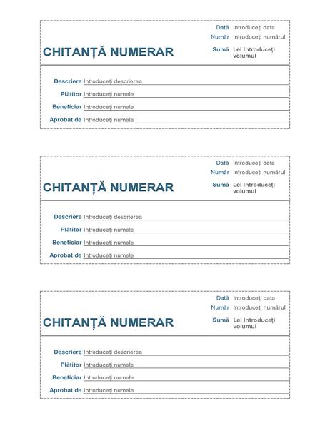 Chitanță numerar (3 pe pagină)