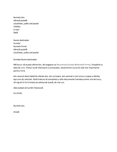 Scrisoare de acceptare a ofertei de angajare