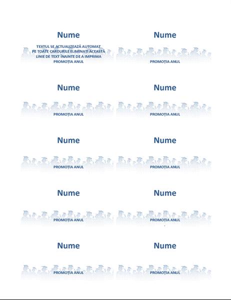 Carduri cu numele absolventului (10 pe pagină)