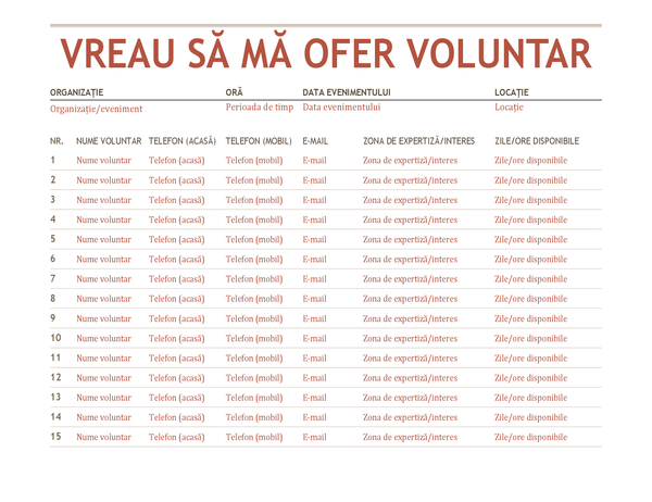 Fișă de înscriere voluntari