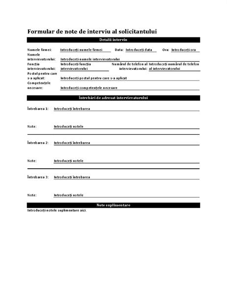 Formular de note de interviu al solicitantului