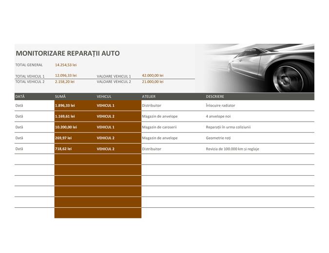 Monitorizare reparații auto