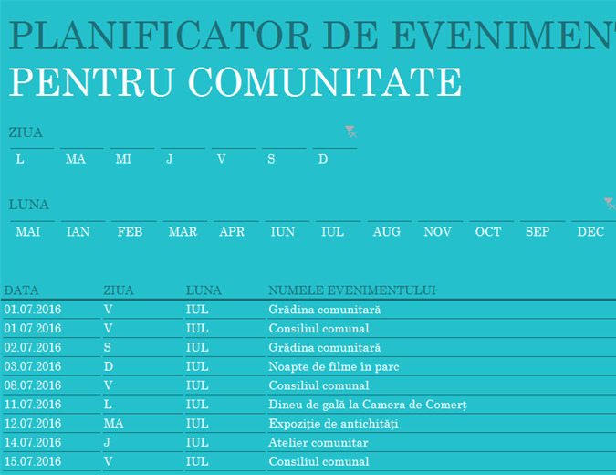 Planificator de evenimente pentru comunitate