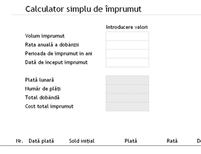 Calculator împrumut
