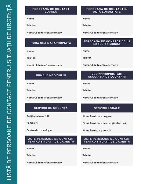 Listă de persoane de contact pentru situații de urgență
