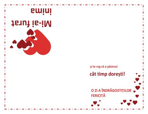 Felicitare de Ziua îndrăgostiților (proiectare inimă, pliat în patru)