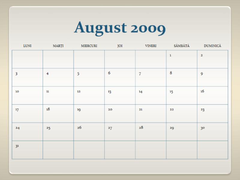 Calendar școlar 2009-2010 (13 pag., Luni-Duminică)