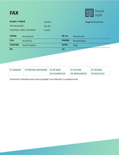 Pagină de însoțire fax (proiectare Gradient verde)