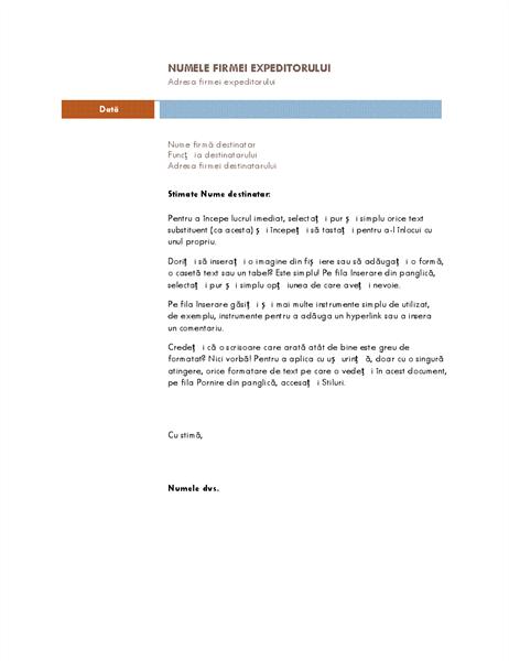 Scrisoare de afaceri (temă Median)