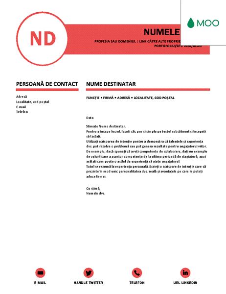 Scrisoare de intenție îngrijită, proiectată de MOO
