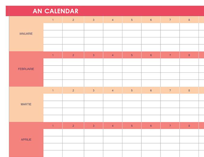 Calendar (orice an, orizontal)