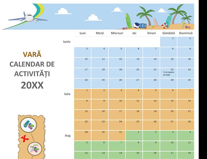 Calendar de activitate estivală