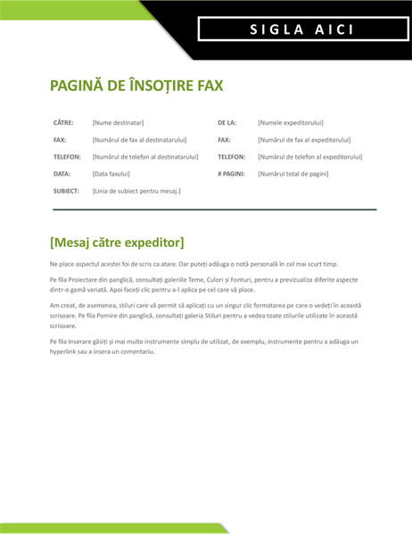 Pagină de însoțire fax siglă îndrăzneață