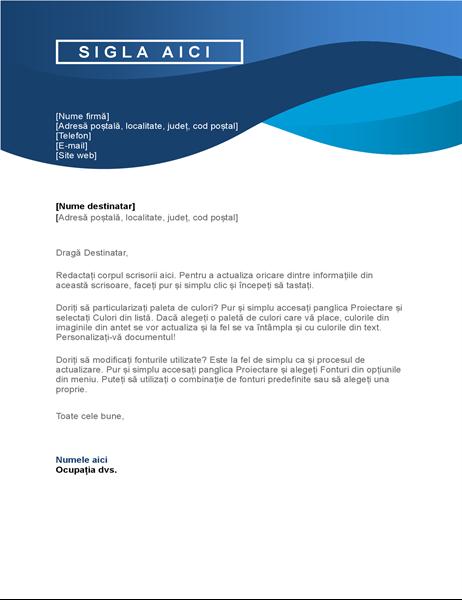 Antet de scrisoare cu curbe albastre