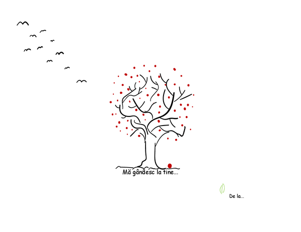 Carte poștală de condoleanțe, care prezintă un copac