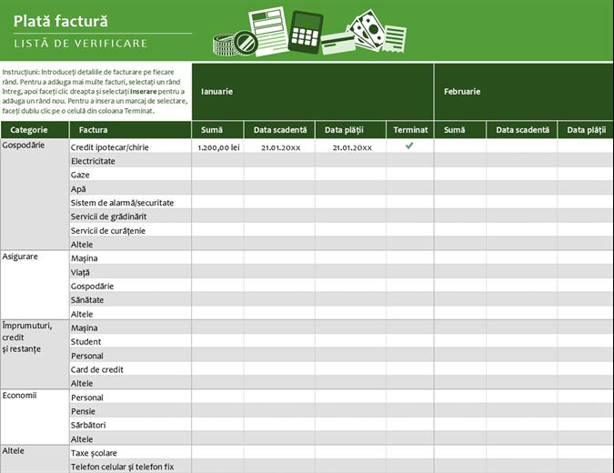 Listă de verificare pentru plata facturilor