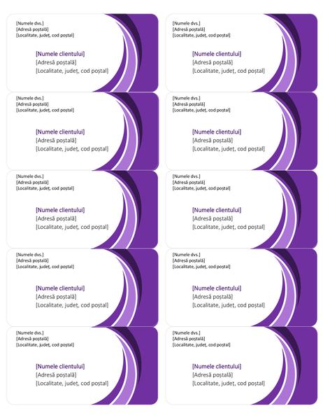 Etichete violet pentru livrări (10 pe pagină)